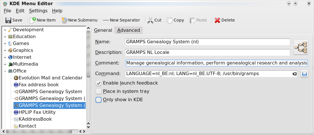 Add locale Gramps KDE menu item