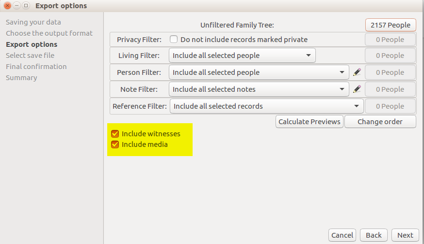 "Checkbox enabled for ""Include witnesses"" associated with a family event."