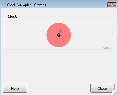 Clock Gramplet - shown detached (Gramps 4.1.0)