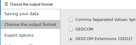 """GEDCOM Extensions (GED2)"" option selected in Export_Assistant"