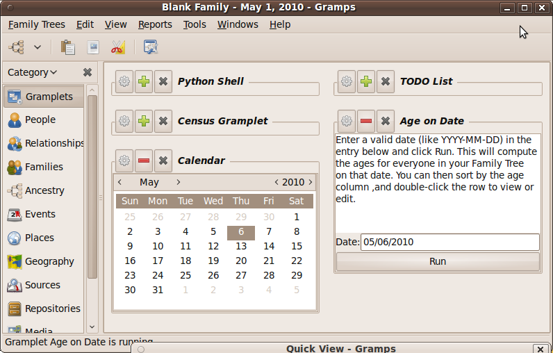 Gramplet view with Calendar Gramplet