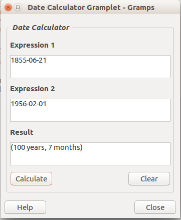 Date Calculator Gramplet - Example results