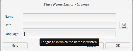 New Place Name editor