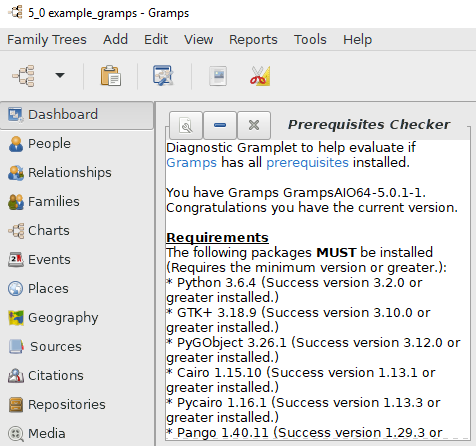 Prerequisites Checker Gramplet on the Dashboard